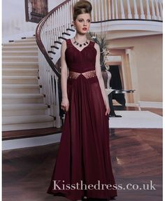 Wine Red Chiffon V-n