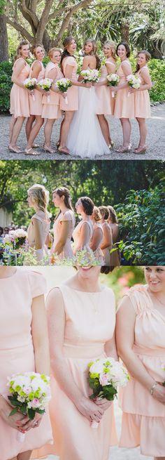 Short blushing bridesmaid dresses.