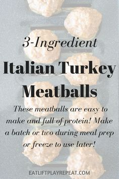 These 3-Ingredient Italian Turkey Meatballs are a high protein option for meal prep. Keep them in the fridge to enjoy all week or freeze for later!