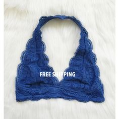 c307d370f5 Royal Blue Lace Scalloped Halter Bralette Halter Bralette ( 14) ❤ liked on Polyvore  featuring
