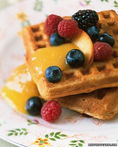 I don't usually like waffles, but I would eat these! Oat and Whole-Wheat Waffles with Mango Sauce - Martha Stewart Recipes