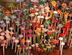 Glass Mushroom Garden  Whimsical colorful glass by RandolphArt, $29.00