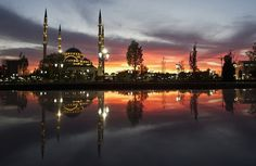 The Heart of Chechnya mosque is seen in the Chechen capital Grozny. The giant marble mosque glimmers in the night.