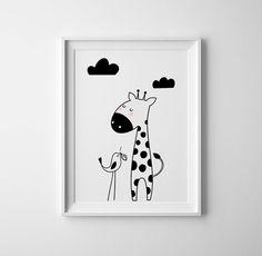 Giraffe nursery illustration toddler girl or boy by CocoandBlu