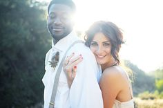 Bride and Groom, Red Nails, Suspenders, Wedding Hair and Make-up, Boho Chic Inspiration Shoot via Style Me Pretty