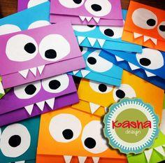 Invitación infantil. Mounstritos. facebook: kasha design.