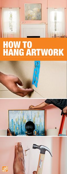 Hanging large artwork or photography in a space can add lots of personality and visual impact. Hanging Artwork, Large Artwork, Home Depot, Finger Painting, Hanging Pictures, Blank Walls, Do It Yourself Home, Home Hacks, Decorating Tips