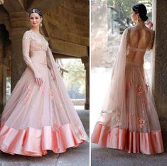 Peach and golden lehenga choli set. The lehenga choli is a custom made garment which include the blouse, lehenga(skirt) and the dupatta (stole). Blouse is in georgette, Skirt and stole material is net. It can be customised in any color of your choice. Blouse length can be made