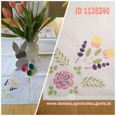 """GoniDecor Farben plus Selbstklebende Schablone und """"ruck zuck"""" ist ein Unikat einer Tischdecke gestaltet"""