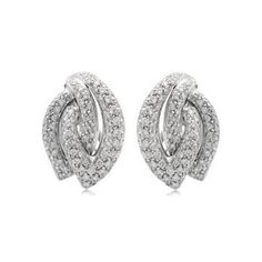 Wedding Earrings Leo Pizzo Diamond White Gold Earrings - This gorgeous pair of LEO PIZZO white gold earrings features round brilliant cut white diamonds, pave set, of D-E color, VVS clarity and excellent cut and brilliance, weighing carats total. Gold Diamond Earrings, Diamond Studs, Sterling Silver Earrings, Diamond Jewelry, Gold Jewelry, Emerald Diamond, Emerald Cut, Affordable Jewelry, Matching Necklaces