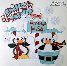 Winter Penguins Boy Girl Paper Piecing Set Premade 4 Borders Album Scrapbooks | eBay