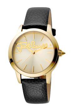 Just Cavalli Women's Logo Leather Strap Watch