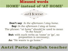 Misused words: 'HOME' instead of 'AT HOME' #learnenglish