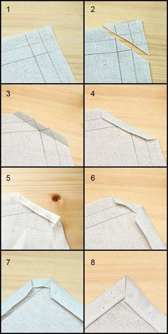 Mitered Corners Photo Tutorial Mitered Corners Photo Tutorial - I always struggle with theses., Mitred corners on sheets, quilts or tablecloths,Faire un angle en couture Tutorials: Get access to dozens of free sewing tutorials to create your beautifu Sewing Lessons, Sewing Hacks, Sewing Crafts, Sewing Projects, Sewing Tips, Free Sewing, Sewing Ideas, Hand Sewing, Sewing Basics