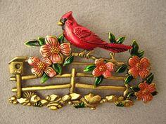 JJ Brooch, Floral Design Brooch, Vintage 80s Bird Brooch, Vintage Signed JJ Brass Pewter Bird Cardinal on Fence Floral Brooch