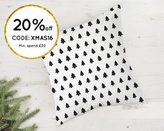 Nordic Christmas pillow cover with Christmas tree design. by Emodi