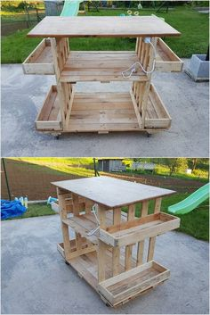Unique Wood Pallet Table with Sides Storage Racks