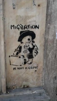 Migration is not a crime! Graffiti on a wall in Athens #streetart