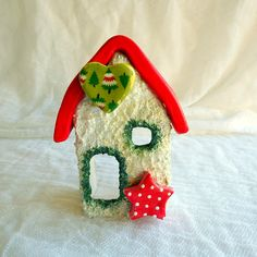 Christmas tree candle holder holiday miniature house festive  decoration ceramic house pottery house cottage chic decor by kosmobysoul on Etsy