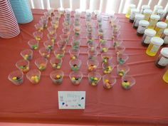 Skittles in med cups posing as happy pills :) this was at my grad party