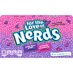 """Wonka Giant Chewy Nerds have a chewy jelly bean center with a bumpy, crunchy nerd shell. They are the same product as the jellybeans, but available year-round. Also known as """"Future Nerds"""". Jelly Beans, Nerds Candy, Candy Brands, Chewy Candy, Sour Candy, Favorite Candy, Candy Shop, Candy Buffet, Candy Recipes"""