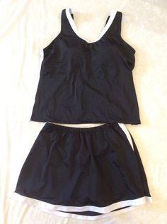 Swim 365 Tankini 16W Swimsuit Set Skirt Bottom Top Black White Sporty Women Swim #swim365 #SwimSkirt
