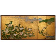 For Sale on - Six panels Japanese screen with peonies flowers in a several moments of flourishing: bud, complety open, etc. Japanese Wall, Japanese Screen, Asian Wall Decor, Japanese Furniture, Japan Art, Art Furniture, Chinese Painting, Silk Painting, Modern Paintings