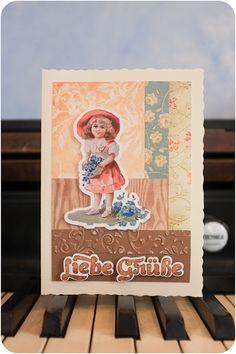 Adrett steht sie da, mit ihrem großen Hut und dem Körbchen voller Vergissmeinnicht. Einst zierte sie eine Original-Postkarte aus der Zeit um 1900 ... Poster, Books, Instagram, Thanks, Postcards, Libros, Book, Book Illustrations, Billboard