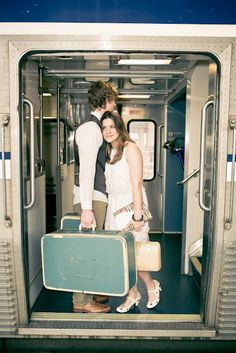 vintage luggage for a one year anniversary train station shoot #onelovephotography