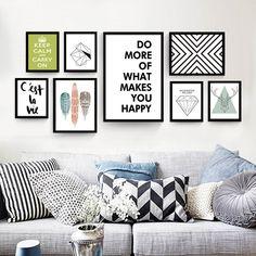 Nordic декоративная живопись современная гостиная плакат черно белый Английский абстрактные творческие дома холст для живописи купить на AliExpress