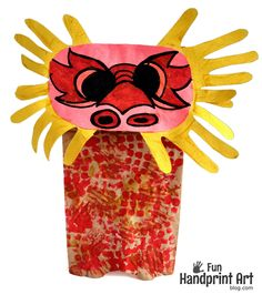 Chinese Dragon Puppet made with Handprints