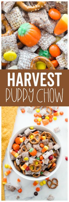 Harvest Puppy chow is an easy fun fall treat! It combines the classic flavo., This Harvest Puppy chow is an easy fun fall treat! It combines the classic flavo., This Harvest Puppy chow is an easy fun fall treat! It combines the classic flavo. Snack Mix Recipes, Fall Recipes, Holiday Recipes, Snack Mixes, Easy Fall Treats Recipes, Easy Fall Deserts, Dinner Recipes, Pumpkin Recipes, Yummy Recipes