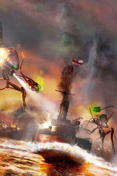 War of the Worlds Adaptation - HMS Thunder Child. Les Aliens, Apocalypse Art, Cool Monsters, Alien Art, Sci Fi Books, Science Fiction Art, Fantastic Art, The Martian, Sci Fi Fantasy