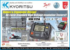 #Kyoritsu #DigitalInsulation_Tester Kew 3125a Product description: • Insulation Resistance up to 1TΩ • Short-Circuit Current up to 1.5mA • Wide Test Voltage from 250V to 5000V • Diagnosis Function of PI and DAR • Newly-designed alligator clip • It comes with a tough hard case • Filter function reduces noise interference for obtaining stable measurement http://systemprotection.in/