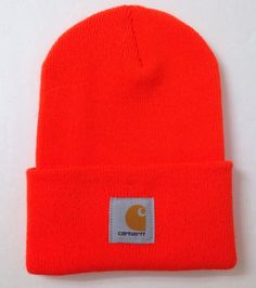 54f570c933c new MENS CARHARTT BEANIE Cuffed Winter Knit Hat Outdoor Hunting Work NEON  ORANGE  Carhartt