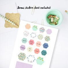 Bonus Planner stickers for A5 planner inserts. Customise your planner.