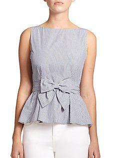 Kate Spade New York Striped Peplum Top Trendy Dresses, Fashion Dresses, Kids Dress Wear, Frock For Women, Fancy Tops, Crop Top Shirts, Short Tops, Blouse Designs, Dame