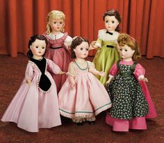 Complete Set of Little Women by Madame Alexander,Four Autographed Dolls from the 1949 Film.depicted are the four Little Woman and Marme from Louisa Alcott's 19th century novel,each wearing their original tagged costume,circa 1950.