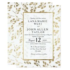 Modern white faux gold elegant floral Wedding Card - invitations custom unique diy personalize occasions