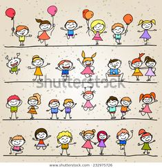 set of hand drawing cartoon character abstract happy kids - Zeichnen - Cartoon Drawing Cartoon Characters, Cartoon Sketches, Character Drawing, Happy Cartoon, Cartoon Kids, Fourth Of July Crafts For Kids, Doodle People, Stick Figure Drawing, Kids Vector