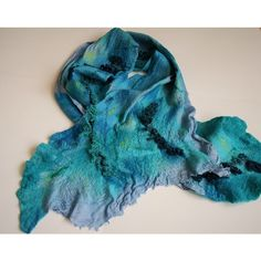 Felted wrap, nunofelted shawl, turquoise, light blue, ocean... (€100) ❤ liked on Polyvore featuring accessories, scarves, wrap shawl, turquoise scarves, turquoise shawl, woolen scarves and wool scarves