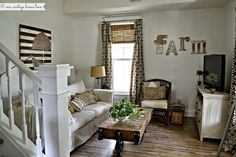 Den in a circa 1905 farmhouse. See the entire home tour. Our Vintage Home Love