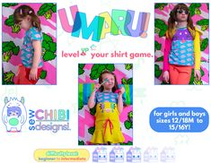 The Umaru Shirt PDF Pattern by Sew Chibi Designs is a relaxed, fit t-shirt pattern for all! From basic to completely kawaii; little toddler 12/18M all the way up to 16Y, long, short, and sleeveless options for all seasons, and a plethora of customizations, there are over 9,000 different ways to make it! 😱 It just might be the only t-shirt pattern you'll ever need! Sewing Hacks, Sewing Tutorials, Sewing Projects, Love Sewing, Hand Sewing, Sewing Patterns For Kids, Learn To Sew, Fabric Design, Chibi