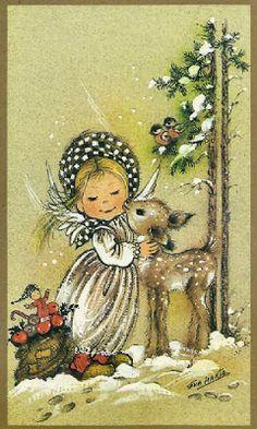 Vintage Greeting Card by Norcross artist Eva Harta Angel reindeer Vintage Christmas Images, Christmas Scenes, Christmas Deer, Retro Christmas, Vintage Holiday, Christmas Pictures, Christmas Angels, Vintage Greeting Cards, Christmas Greeting Cards