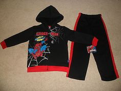 "L New ""Spiderman Zip Up Hoodie Jacket Pants"" Boys Spider Man Size 5T   eBay"