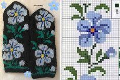 Knitting Socks Tips Patterns Ideas Double Knitting Patterns, Crochet Mittens Free Pattern, Knitting Charts, Knit Mittens, Sweater Knitting Patterns, Crochet Chart, Knitting Socks, Hand Knitting, Crochet Patterns
