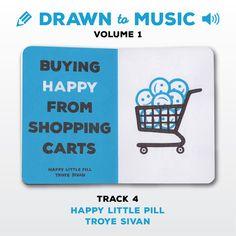 Drawn to Music - Volume 1 : Track 4 - Happy Little Pill by Troye Sivan #sketchbookproject2017 #drawntomusic #volume1 #S164511 #halfandhalf #blackwhiteandblue #happylittlepill #troyesivan
