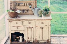 Re purposed furniture turned potting bench