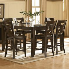 HomeVance Englewood 7-piece Counter Height Dining Set, Red