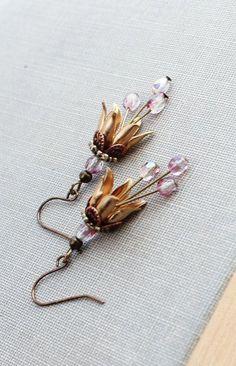 Brass Flower Earrings Dangle Earrings Tulip